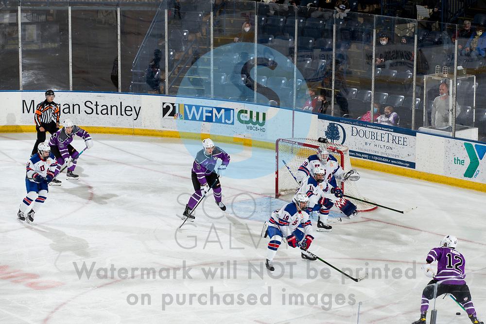 The Youngstown Phantoms defeat Team USA U-18 5-2 at the Covelli Centre on January 30, 2021.<br /> <br /> Sergei Kuznetzov, forward, 14; Cole Burtch, forward, 93; Gibson Homer, goalie, 29