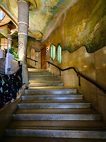 BARCELONA, SPAIN - CIRCA MAY 2018: Staircase of La Pedrera, also known as Casa Mila or The Stone Quarry. A famous building in the center of Barcelona designed by Antoni Gaudi.