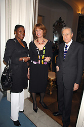Left to right, BARONESS AMOS, The Italian ambassador GIANCARLO ARAGONA and his wife SANDRA at a party to celebrate the publication of Dell'Olio's book 'My Beautiful Game' held at the Italian Embassy, Grosvenor Square, London on 17th April 2008.<br />