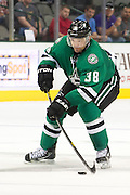 DALLAS, TX - SEPTEMBER 26:  Vernon Fiddler #38 of the Dallas Stars controls the puck against the Colorado Avalanche in an NHL preseason game on September 26, 2013 at the American Airlines Center in Dallas, Texas.  (Photo by Cooper Neill/Getty Images) *** Local Caption *** Vernon Fiddler