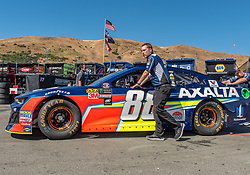 June 22, 2018 - Sonoma, CA, U.S. - SONOMA, CA - JUNE 22: The crew for Alex Bowman, driving the #(88) Chevrolet for Hendrick Motorsports rolls their car into the garage area after inspection on Friday, June 22, 2018 at the Toyota/Save Mart 350 Practice day at Sonoma Raceway, Sonoma, CA (Photo by Douglas Stringer/Icon Sportswire) (Credit Image: © Douglas Stringer/Icon SMI via ZUMA Press)