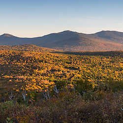 (From R to L) Saddleback Junior, The Horn, and Saddleback Mountain as seen from Reddington Township, Maine. High Peaks Region.