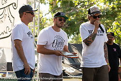 Cory and Zach Ness on stage to award the Arlen Ness award to Hawk Lawshe for capturing Arlen's creative spirit in his Best of Show bike. Born-Free Vintage Motorcycle show at Oak Canyon Ranch, Silverado, CA, USA. Sunday, June 23, 2019. Photography ©2019 Michael Lichter.