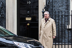 London, UK. 12th February, 2019. Geoffrey Cox QC MP, Attorney General, leaves 10 Downing Street following a Cabinet meeting.