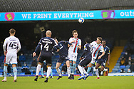 Scunthorpe United Alfie Beestin (22) Southend United Sam Hart (42) battles for possession during the EFL Sky Bet League 2 match between Southend United and Scunthorpe United at Roots Hall, Southend, England on 12 December 2020.