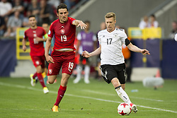 June 18, 2017 - Tychy, Poland - Mitchell Weiser of Germany and Milan Havel of Czech during the UEFA European Under-21 Championship 2017 Group C match between Germany and Czech Republic at Tychy Stadium in Tychy, Poland on June 18, 2017  (Credit Image: © Andrew Surma/NurPhoto via ZUMA Press)