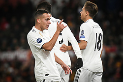 November 27, 2018 - Rome, Italy - Lucas Vazquez with his teammates of Real Madrid celebrates after scoring the team's second goal  during the Champions league football match between AS Roma  and Real Madrid at Olimpico stadium in Rome, Italy, on November 27, 2018. (Credit Image: © Federica Roselli/NurPhoto via ZUMA Press)