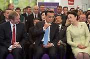 17/05/2015 . H.E. Mr Li Premier of the State Council,  People's Republic of China and his wife Prof Hong Cheng with AN Taoiseach Enda Kenny TD at the farm of  Cathal Garvey from Ower Co. Mayo . Photo: Andrews Downes XPOSURE