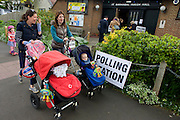 Britons go to the polls today in a general election predicted to be the closest for decades as no single party is expected to secure a majority. Londoners vote at their local polling station, a Baptist church in the south London borough of Herne Hill, SE24, Lambeth.