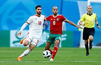 Alireza Jahanbakhsh (Iran) and Karim El Ahmadi (Morocco)<br /> Saint Petersburg 15-06-2018 Football FIFA World Cup Russia  2018 <br /> Morocco - Iran / Marocco - Iran <br /> Foto Matteo Ciambelli/Insidefoto