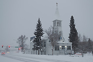 Immaculate Conception Church on 2nd Avenue in Fairbanks, Alaska on a snowy winter afternoon