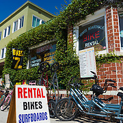 Rental shop on Venice boardwalk, Los Angeles, California