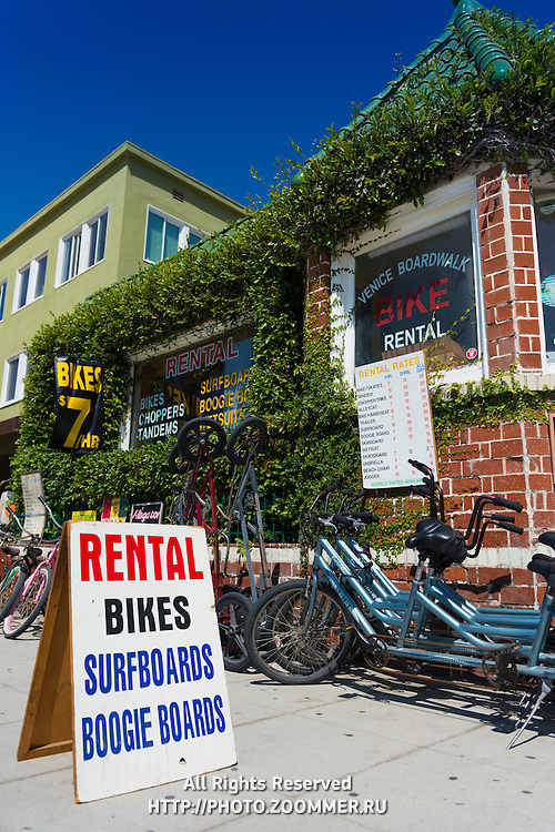 Rental shop on Venice boardwalk, Los Angeles, California