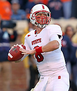 Oct. 22, 2011 - Charlottesville, Virginia - USA; North Carolina State quarterback Mike Glennon (8) handles the ball during an NCAA football game against the Virginia Cavaliers at the Scott Stadium. NC State defeated Virginia 28-14. (Credit Image: © Andrew Shurtleff/