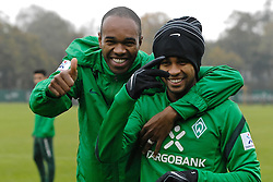 25.10.2011, Trainingsgelaende, Bremen, GER, 1.FBL, Training Werder Bremen, im Bild Naldo (Bremen #4) und Wesley (Bremen #5) // during training session from Werder Bremen on 2011/10/25, Trainingsgelaende Werder Bremen, Bremen, Germany. EXPA Pictures © 2011, PhotoCredit: EXPA/ nph/  Gumz       ****** out of GER / CRO  / BEL ******