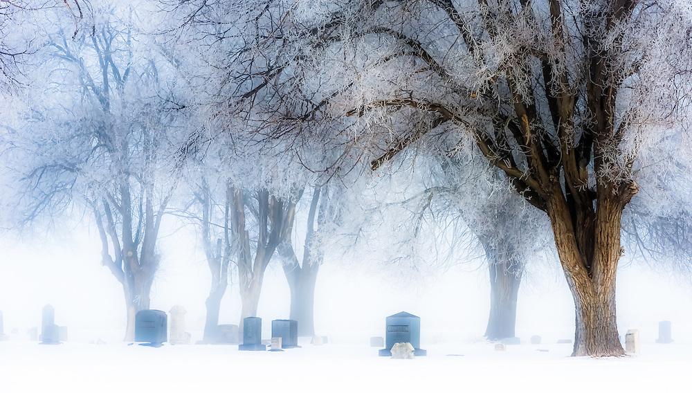 Gravestones in the North Powder Oregon cemetery on a foggy winter day.