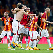 Galatasaray's Wesley Sneijder (L) celebrate his goal with team mate during their Turkish superleague soccer derby match Galatasaray between Fenerbahce at the AliSamiYen spor kompleksi TT Arena in Istanbul Turkey on Saturday, 18 october 2014. Photo by Aykut AKICI/TURKPIX
