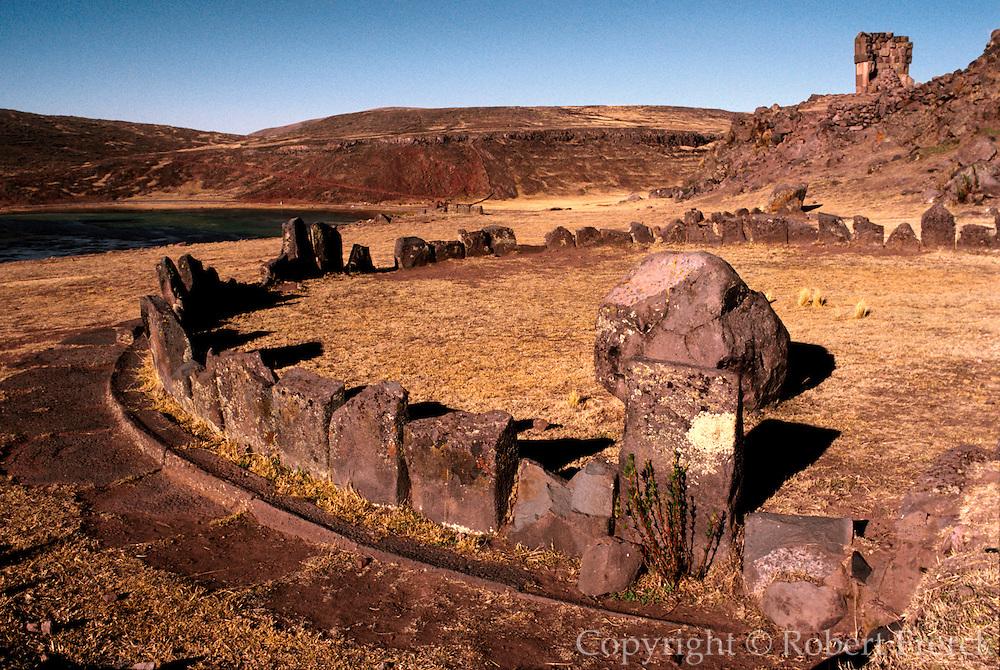 PERU, LAKE TITICACA Aymara Culture 1000AD, pre-Inca observatories at Sillustani near Puno, chullpa tombs on hillside beyond