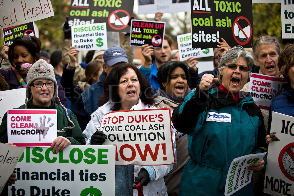 Protesters gather in front of the Executive Mansion, along Blount St., to voice their dissatisfaction with the recent coal ash spill that happened in Eden, N.C., on March 5, 2014. The spill coated the river bottom of the Dan River with 39,000 tons of coal ash and 27 million gallons of contaminated water for at least 70 miles downstream according to state regulators from the Department of Environmental and Natural resources (DENR).