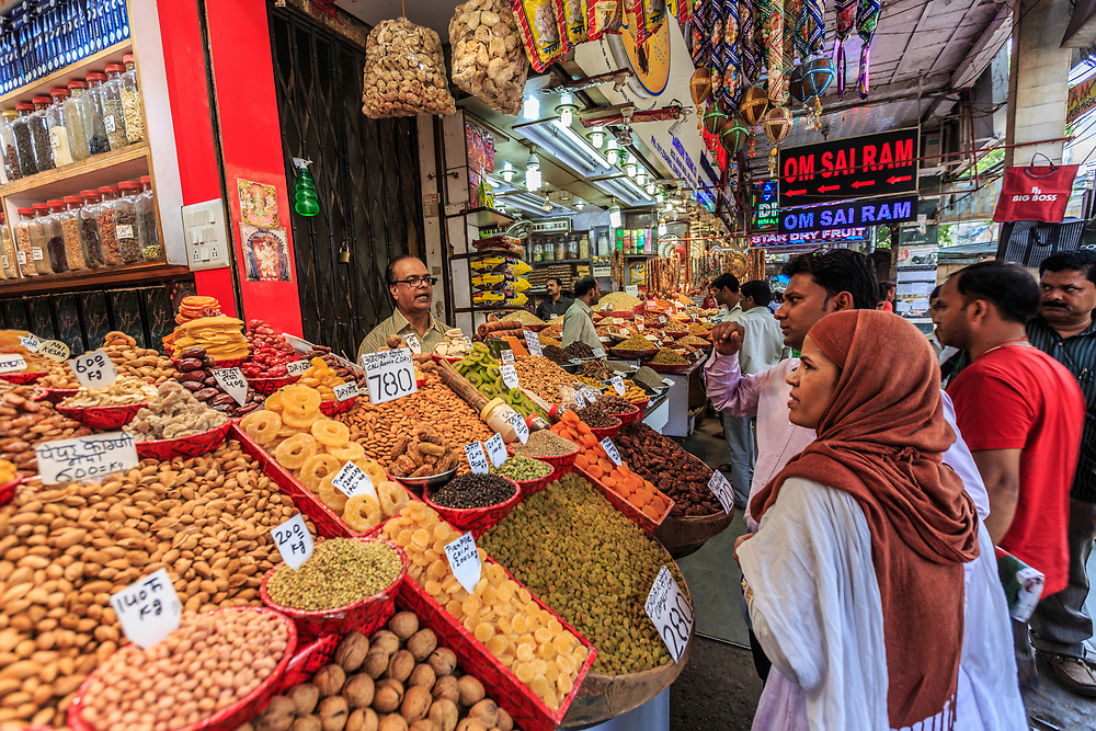 Khari Baoli spice market in Old Town in New Delhi, India. Khari Baoli is a street  known for Asia's largest wholesale spice market selling all kinds of spices, nuts, herbs and food products like rice and tea.