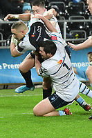 Rugby Union - 2019 / 2020 Guinness Pro14 - Ospreys vs. Cardiff Blues<br /> <br /> Scott Baldwin of Ospreys tackled by Brad Thyer of Cardiff Blues, at The Liberty Stadium.<br /> <br /> COLORSPORT/WINSTON BYNORTH