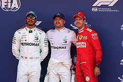 May 11, 2019 - Montmeló, Catalunya, Spain - 2nd position Lewis Hamilton (GBR) Mercedes AMG F1 W10, Valtteri Bottas (FIN) Mercedes AMG F1 W10 pole position and 3rd position Sebastian Vettel (GER) Scuderia Ferrari SF90 F1 2019: Grand Prix of Spain: Qualifying (Credit Image: © Photo4/Lapresse via ZUMA Press)