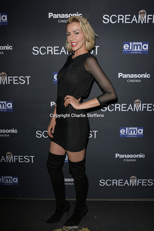 """ALLISON MCATEE attends the premiere screening of """"We Summon the Darkness"""" on closing night of the 19th Annual SCREAMFEST Horror Film Festival at TCL Chinese Theatre 6 in Los Angeles, California."""