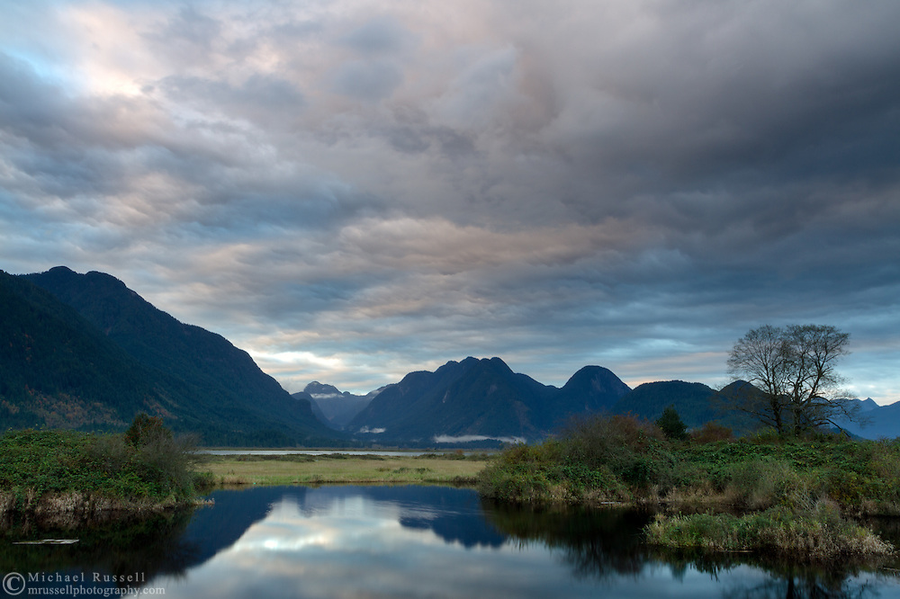 Pitt Polder Ecological Reserve's Pitt Marsh and the Coast Range after sunset in Pitt Meadows, British Columbia, Canada