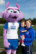 Candy the Durham Womens F) mascot entertains a visiting fan  the FA Women's Super League match between Durham Women FC and Everton Ladies at New Ferens Park, Belmont, United Kingdom on 30 August 2015. Photo by George Ledger.