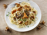 Wiild  chanterelle or girolle (Cantharellus cibarius), Pied de Mouton Mushrooms (hydnum repandum) or hedgehog mushrooms, Pied Bleu of blue foot mushrooms (Clitocybe nuda) with spaghetti