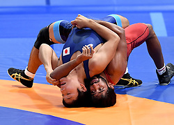 JAKARTA, Aug. 19, 2018  Bajrang Bajrang (R) of India vies with Takatani Daichi of Japan during Men's Wrestling Freestyle 65 kg Final of the 18th Asian Games at Jakarta, Indonesia, Aug. 19, 2018. Bajrang won 11-8. (Credit Image: © Yue Yuewei/Xinhua via ZUMA Wire)