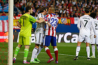 Atletico de Madrid's Joao Miranda (R) and Real Madrid´s Iker Casillas and Gareth Bale during quarterfinal first leg Champions League soccer match at Vicente Calderon stadium in Madrid, Spain. April 14, 2015. (ALTERPHOTOS/Victor Blanco)