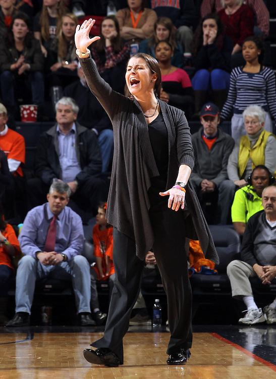 Duke head coach Joanne P. McCallie calls a play during an NCAA college basketball game in Charlottesville, Va. Duke defeated Virginia 62-41...