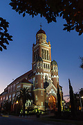 The Cathedral of Saint John the Evangelist at twilight in downtown Lafayette, Louisiana.