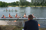 """Henley on Thames, United Kingdom, 23rd June 2018, Saturday,   """"Henley Women's Regatta"""",  view, """"Crew Marshalling"""" Sir Matthew  PINSENT, takes, Shade sitting under a tree, as he controls the crews through to the start area, Henley Reach, River Thames, England, © Peter SPURRIER"""