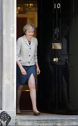© Licensed to London News Pictures. 08/09/2016. London, UK.  Prime Minister Theresa May walks from Number 10 to meet with President of the European Council, Donald Tusk in Downing Street.  Photo credit: Peter Macdiarmid/LNP