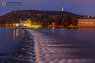 Vltava River and Petrin Hill at dawn in Prague, Czech Republic