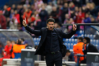 Atletico de Madrid´s coach Diego Pablo Simeone gives indications to his players during Champions League soccer match between Atletico de Madrid and FC Astana at Vicente Calderon stadium in Madrid, Spain. October 21, 2015. (ALTERPHOTOS/Victor Blanco)