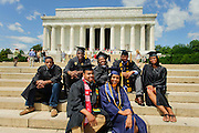 District of Columbia graduates at the Lincoln Memorial.