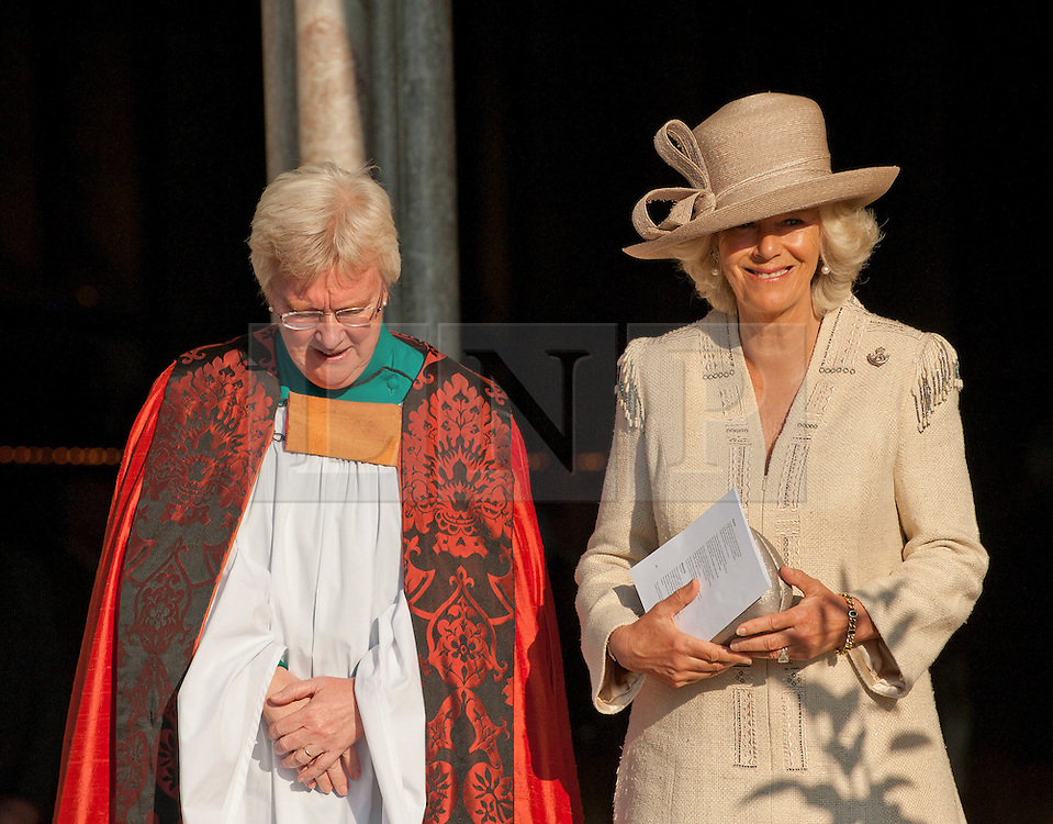 © Licensed to London News Pictures. 02/10/11..Salisbury Cathedral, Salisbury, Wiltshire...HRH The Duchess of Cornwall attended a memorial service at Salisbury Cathedral to mark ten years in Afghanistan...The service, called 'Light for Life' saw candles lit for servicemen and women who have been killed during the British involvement in Afghanistan. On the approach to the Cathedral a line of trees represented all those Regiments that have lost soldiers through the campaign...The event was organised by the charity - Dec Aid - who have been raising money throughout the year to support service charities.. .Photo credit : Ian Forsyth/LNP