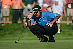 August 9, 2018 - Town And Country, Missouri, U.S - HIDEKI MATSUYAMA from Japan lines up his putt on the 14th hole during round one of the 100th PGA Championship on Thursday, August 8, 2018, held at Bellerive Country Club in Town and Country, MO (Photo credit Richard Ulreich / ZUMA Press) (Credit Image: © Richard Ulreich via ZUMA Wire)