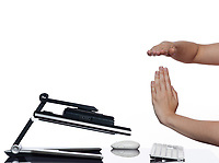 communication between human hand and a computer display monitor on isolated white background expressing breakdown capitulation concept