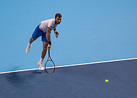 Tennis - 2019 Nitto ATP Finals at The O2 - Day Two<br /> <br /> Doubles Group Max Mirnyi: Kevin Krawietz (GER) & Andreas Mies (GER) Vs. Jean-Julien Rojer (NED) & Horia Tecau (ROM)<br /> <br /> Jean-Julien Rojer (NED) serving as ball leaves racquet <br /> <br /> COLORSPORT/DANIEL BEARHAM