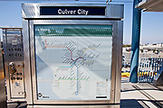 Route map. Metro Expo Line  light rail in new Culver City station which opened in June, 2012 is part of the Metro Rail Phase 1 expansion. Culver City, Los Angeles, California, USA