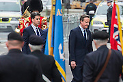 The memorial service in Whitehall attended by Prince Andrew, David Cameron, Nick Clegg and Ed Miliband (here walking back after laying their wreathes). VE Day 70 commemorations - Three days of events in London and across the UK marking historic anniversary of end of the Second World War in Europe. Trafalgar Square, scene of jubilant celebrations marking the end of the Second World War in Europe on 8 May 1945, plays a central part in a host of national events, which include a Service of Remembrance at the Cenotaph, a concert in Horse Guards Parade, a Service of Thanksgiving at Westminster Abbey, a parade of Service personnel and veterans and a flypast.