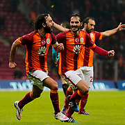 Galatasaray's Selcuk Inan (L) celebrate his goal with team mate during their Turkish Super League soccer match Galatasaray between Istanbul Basaksehir at the AliSamiYen Spor Kompleksi TT Arena at Seyrantepe in Istanbul Turkey on Saturday, 14 March 2015. Photo by Aykut AKICI/TURKPIX