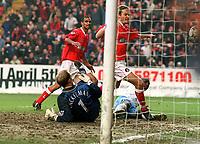 Jonatan Johansson (Charlton) follows in for goal no 3. Charlton Athletic v Aston Villa. 22/2/2003. Credit : Colorsport/Andrew Cowie.