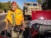 """11 NOVEMBER 2013 - PHOENIX, AZ: JOE KELLWOOD, one of the few surviving Navajo Code Talkers from World War II, walks the Phoenix Veterans Day Parade. The Phoenix Veterans Day Parade is one of the largest in the United States. Thousands of people line the 3.5 mile parade route and more than 85 units participate in the parade. The theme of this year's parade is """"saluting America's veterans.""""    PHOTO BY JACK KURTZ"""