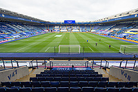 LEICESTER, ENGLAND - JULY 04: A general view of the pitch and stadium ahead of the Premier League match between Leicester City and Crystal Palace at The King Power Stadium on July 4, 2020 in Leicester, United Kingdom. Football Stadiums around Europe remain empty due to the Coronavirus Pandemic as Government social distancing laws prohibit fans inside venues resulting in all fixtures being played behind closed doors. (Photo by MB Media)
