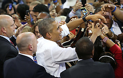 October 28, 2016 - Orlando, FL, USA - President Obama greets supporters during a rally for Democratic presidential nominee Hillary Clinton at the University of Central Florida on Friday, Oct. 28, 2016, in Orlando, Fla. (Credit Image: © Joe Burbank/TNS via ZUMA Wire)